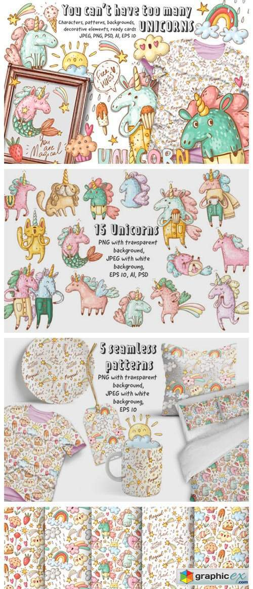 Doodle Unicorns and Patterns