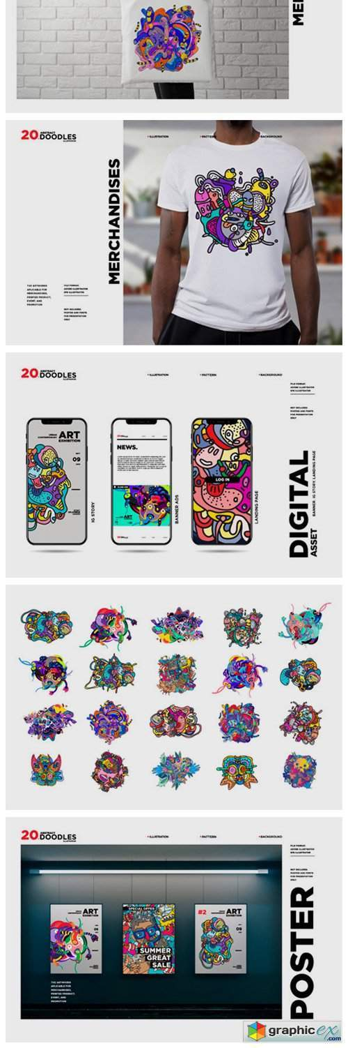 20 Abstract Doodle Illustrations