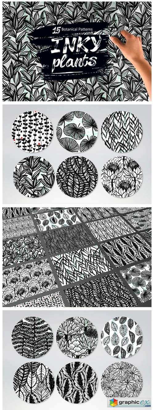 Inky Plants - 15 Botanical Patterns