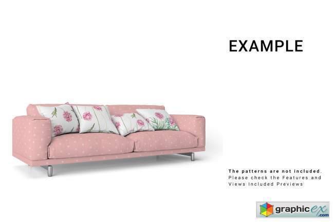 Sofa and Throw Pillows Set