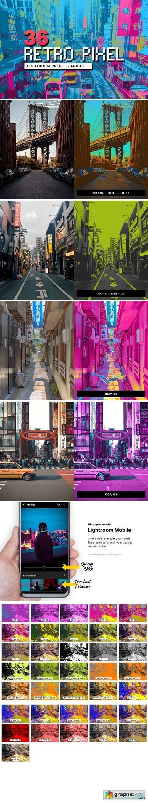 36 Retro Pixel Lightroom Presets and LUTs
