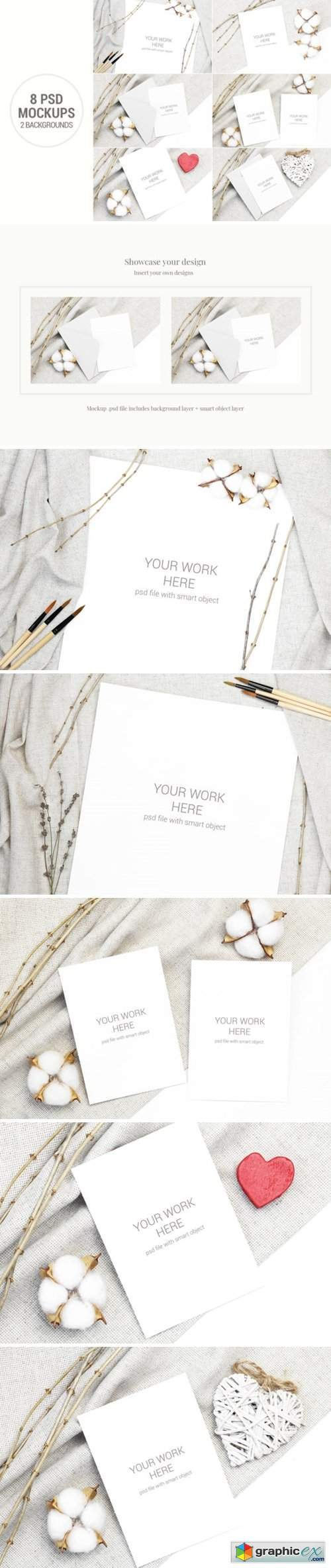 Card Mockup Set with Cotton and Branches