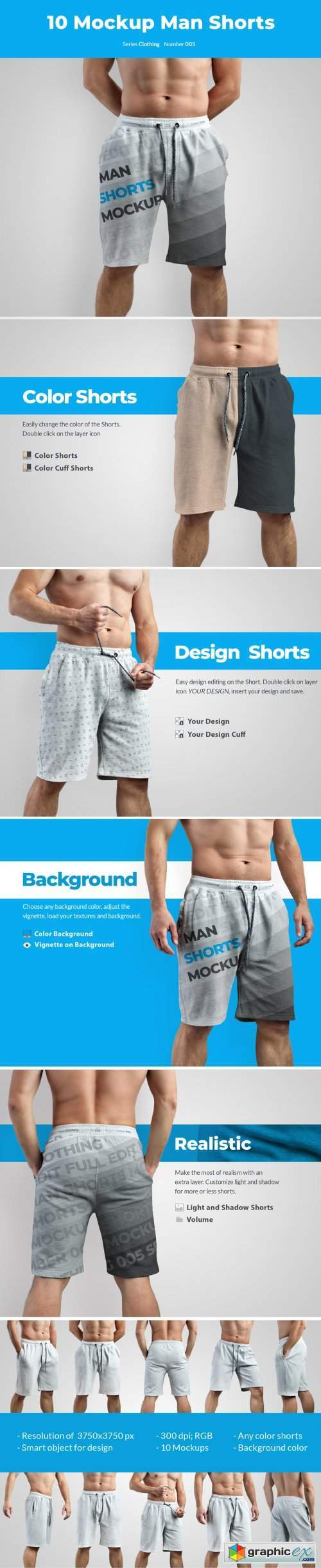 10 Mockups Athletic Shorts Man