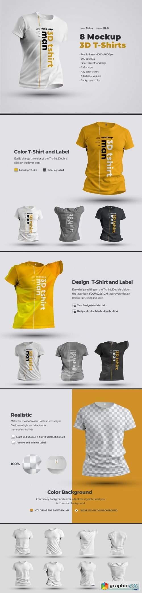 8 Mockups 3D T-Shirts