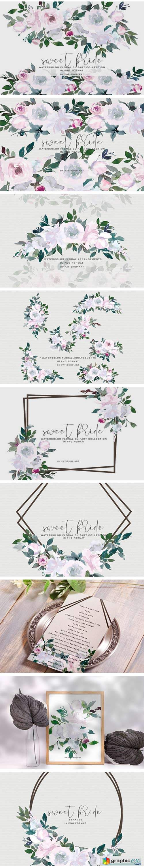 White Pink Watercolor Floral Clipart Set 2445133