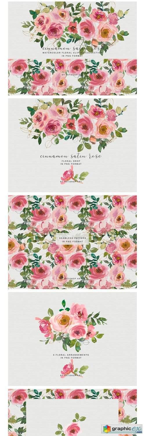 Blush Peach Watercolor Floral Clipart Set