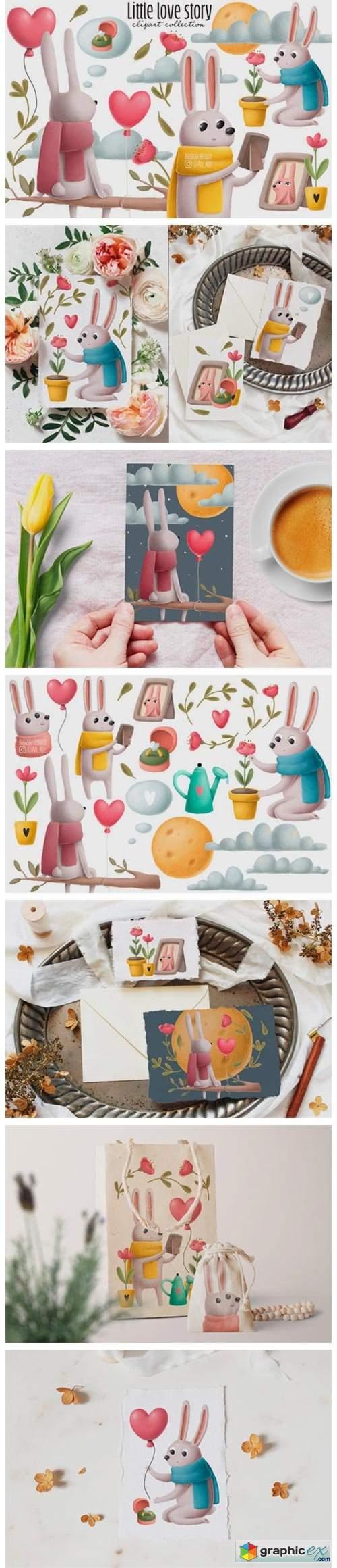 Rabbits Love Story Clipart Set