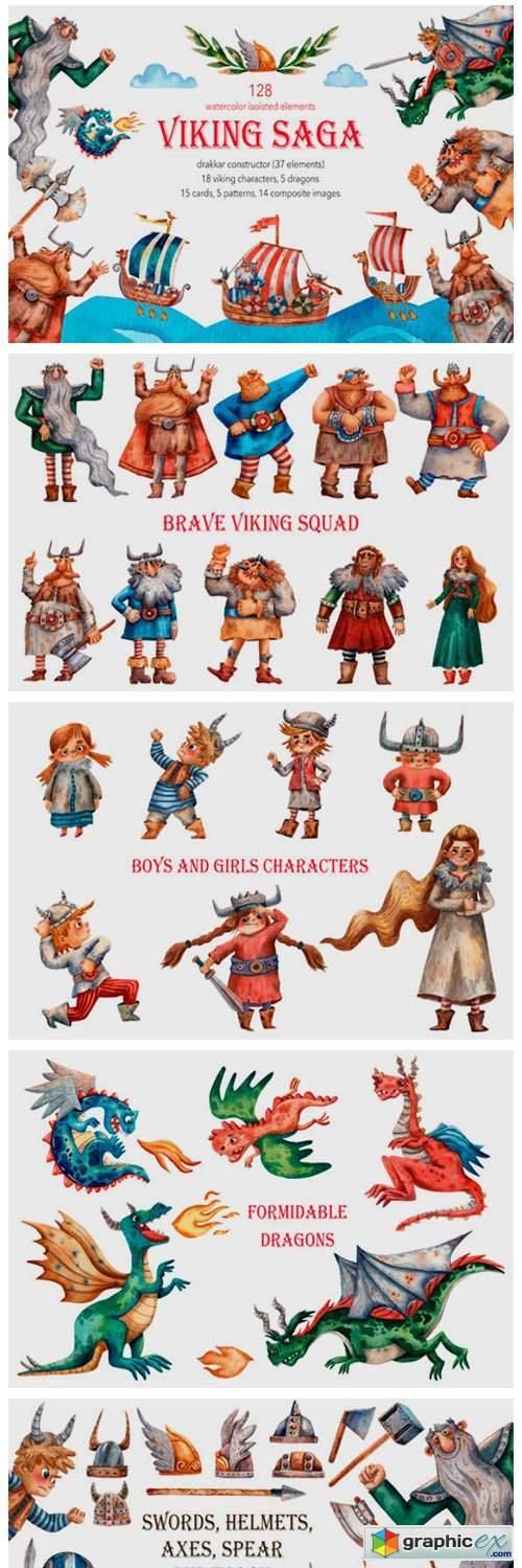Viking Saga - Watercolor Clip Art Set