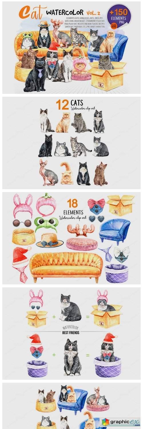 Cats Watercolor Vol 2. Pet Clip Art