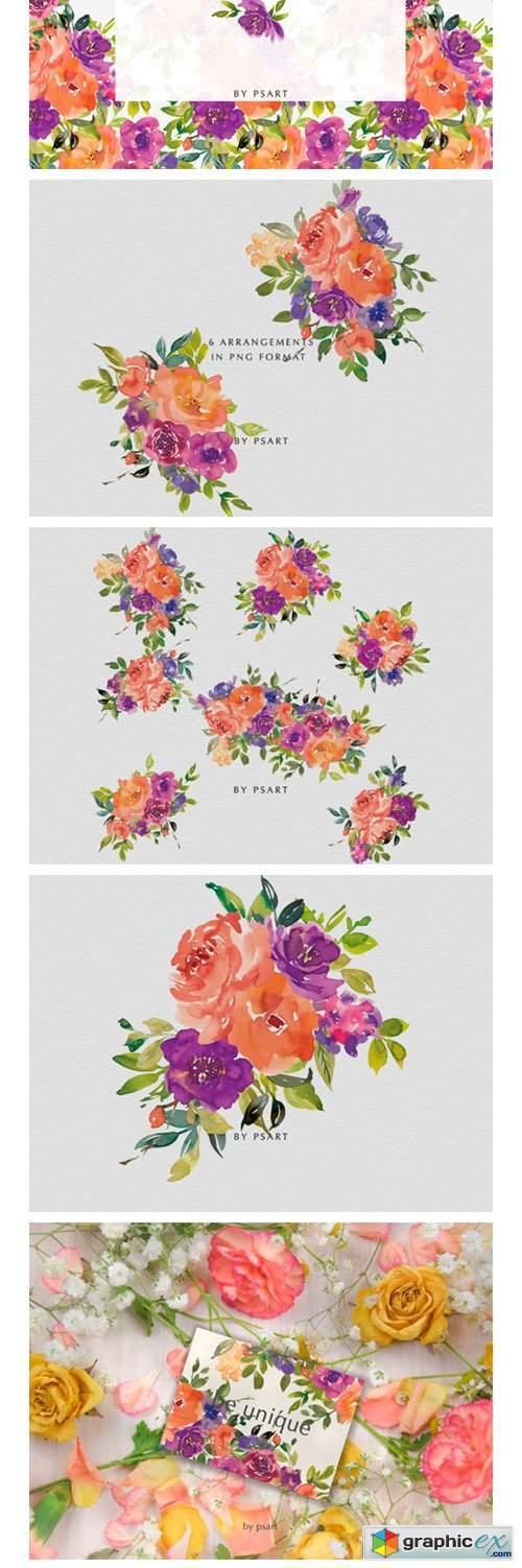 Orange & Purple Watercolor Flowers Set