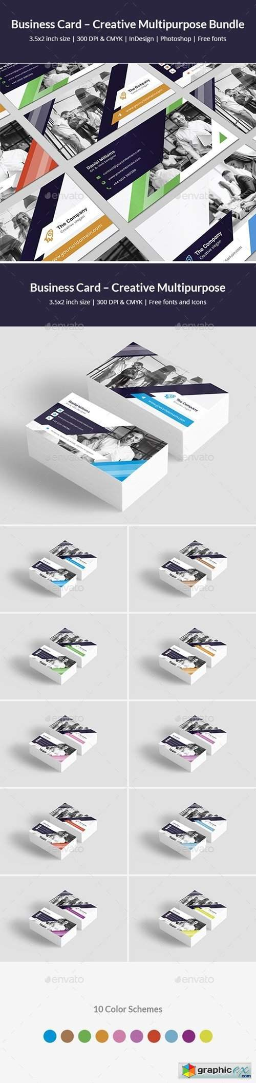 Business Card – Creative Multipurpose Bundle Print Templates 2 in 1