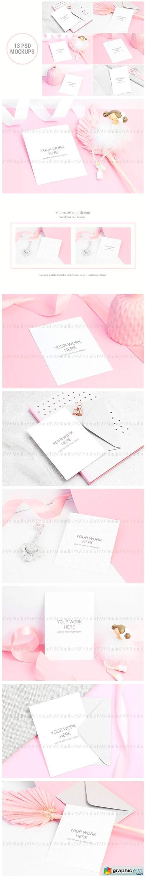 Set of Invitation Card Mockup