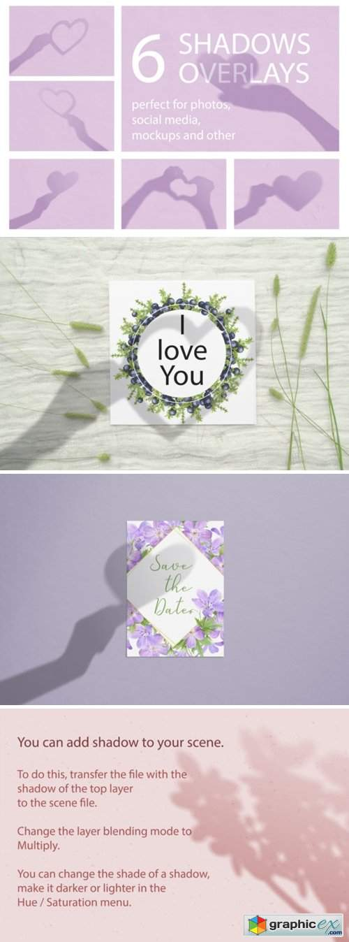 Set of Valentine Shadows Overlay Mockup