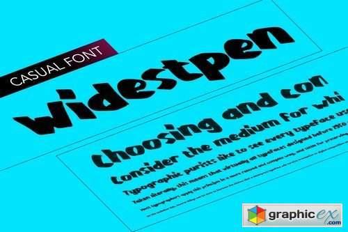 WidestPen, pen like font very wide