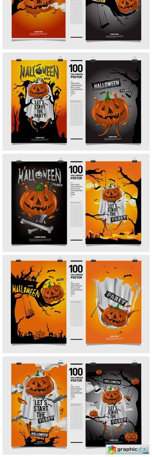 100 Halloween Poster Illustration