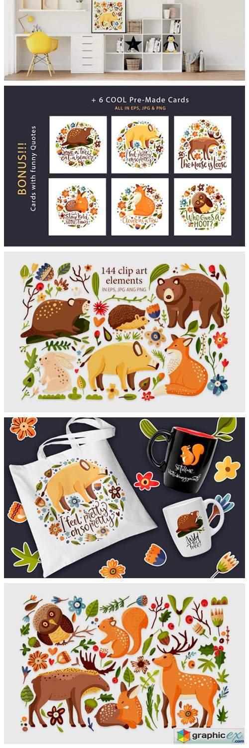 Forest Nature. Animal & Flora Set.