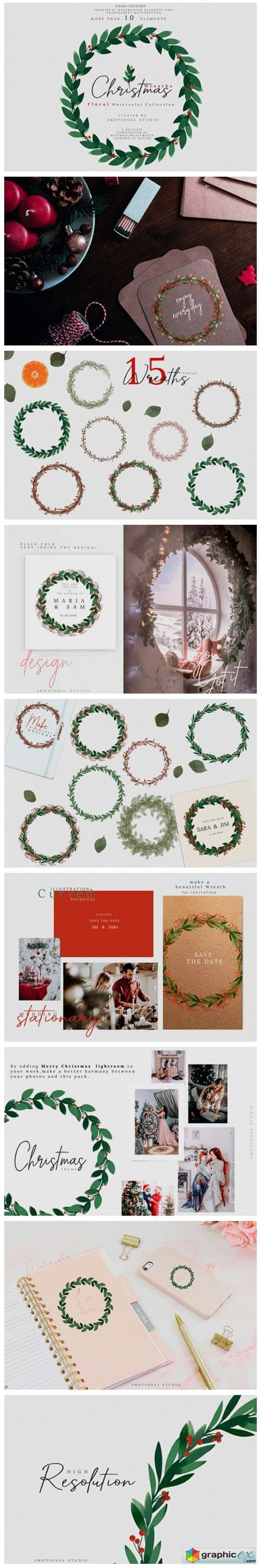Christmas Watercolor Wreaths Collection