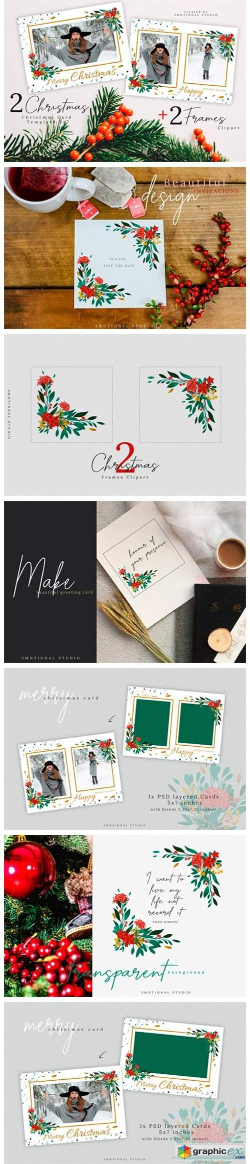 Merry Christmas Card Template 5x7