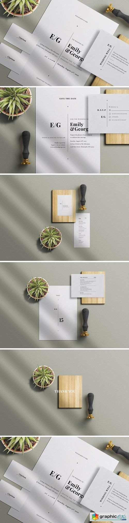 Minimal Wedding Invitation Set 4486154