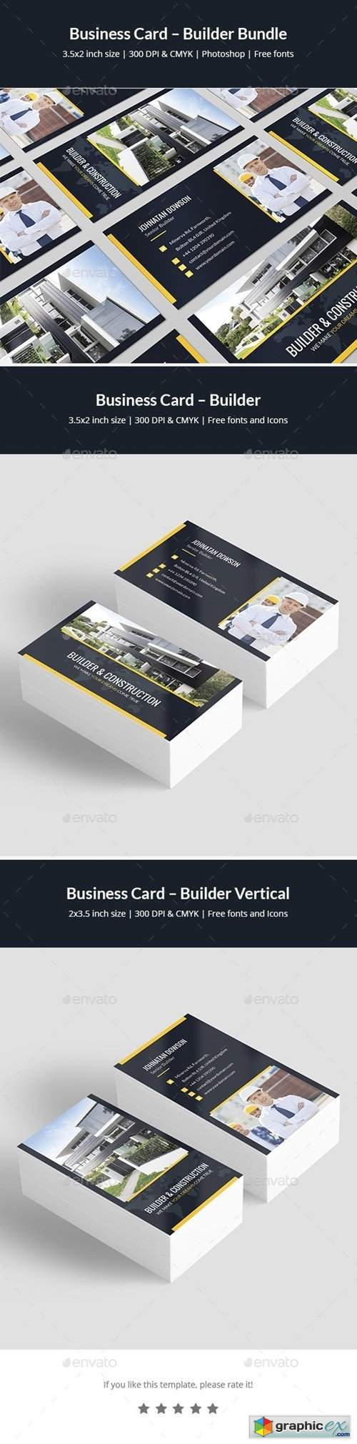 Business Card – Builder Bundle Print Templates 2 in 1