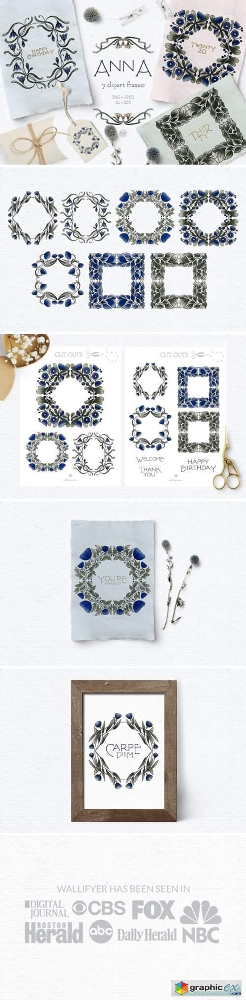 Blue Vintage Flower Clipart Frames
