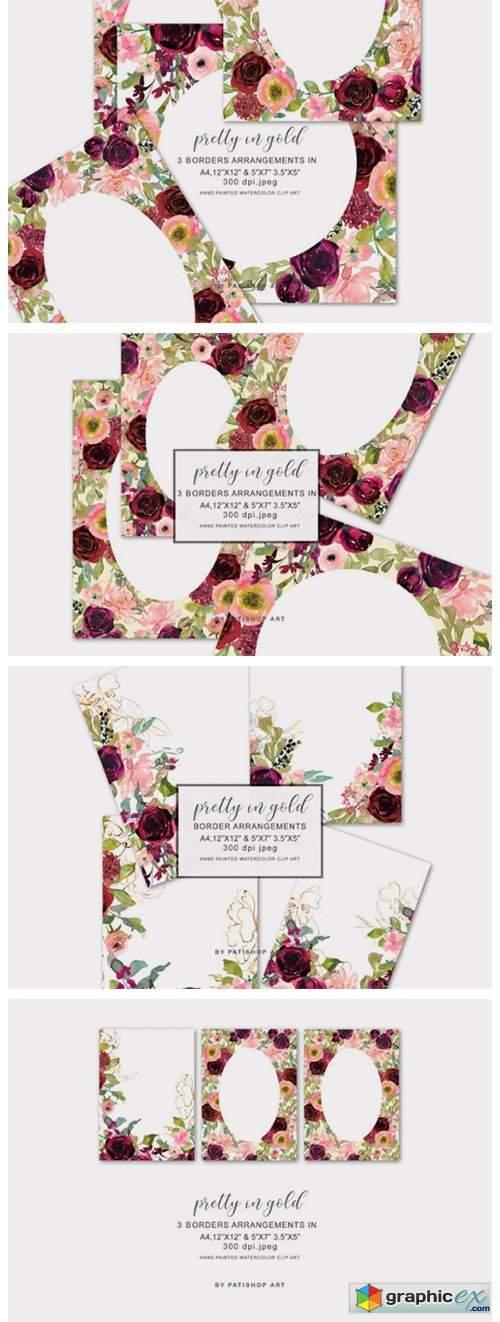 Floral Watercolor Border Arrangements