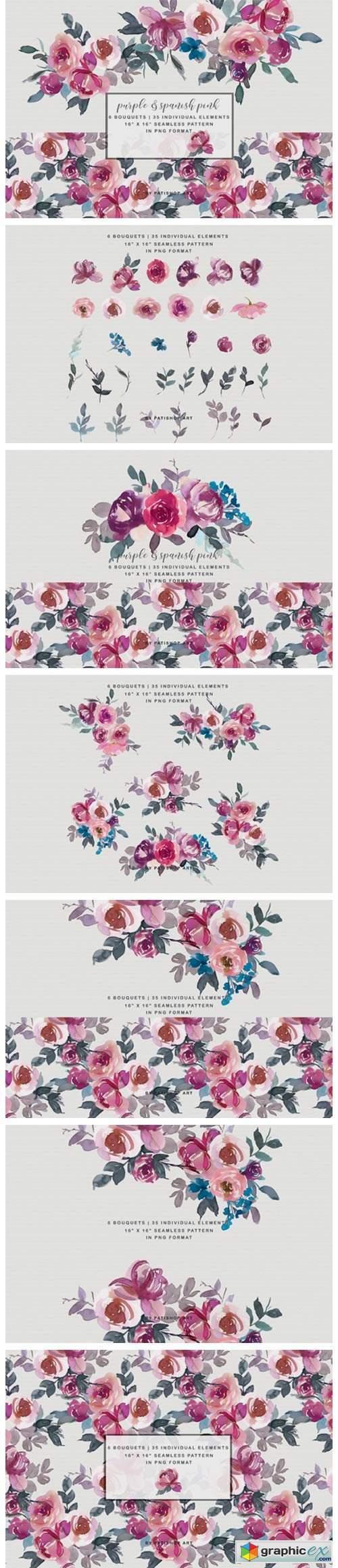 Purple Spanish Pink Bouquet Clipart Set