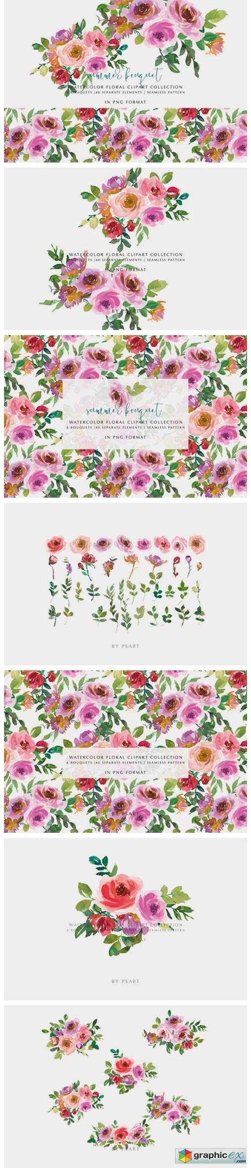 Blush Pink & Purple Watercolor Florals