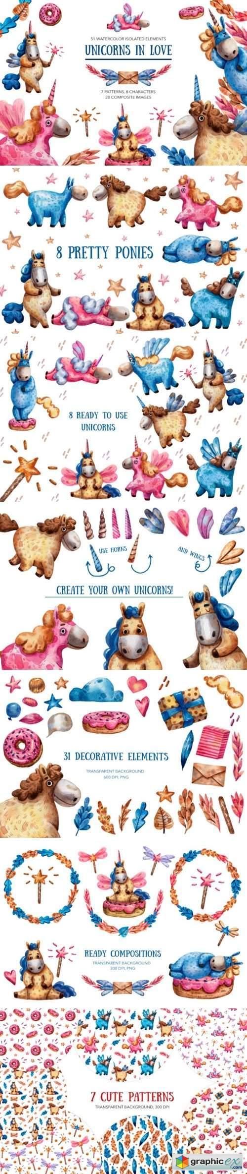 Unicorns in Love - Watercolor Clip Art