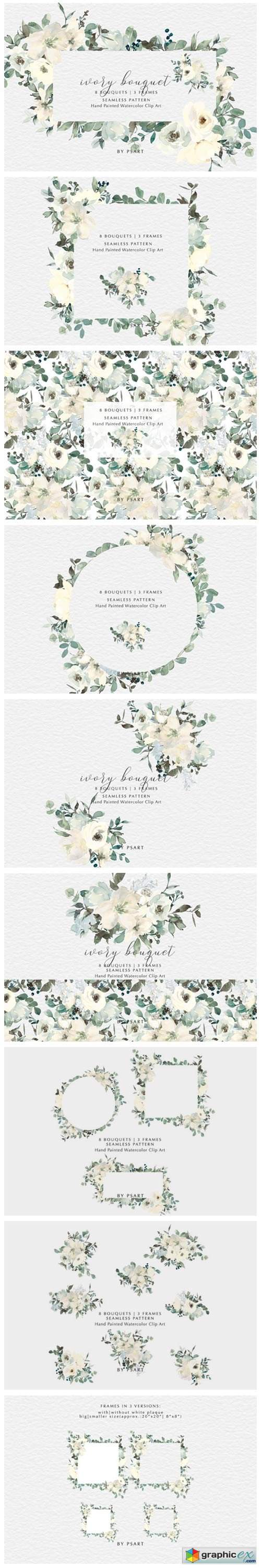 Ivory Watercolor Bouquets Frames Pattern