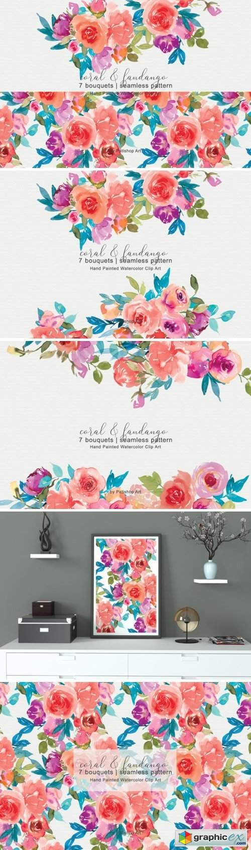 Coral and Fandango Watercolor Set