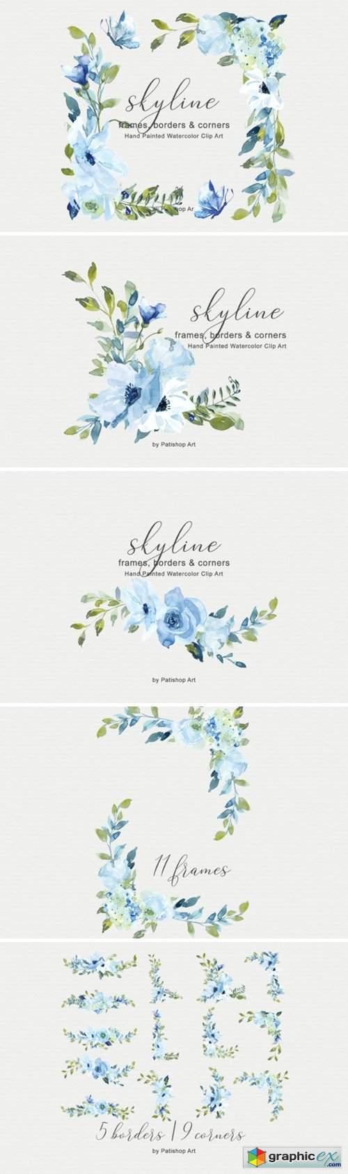Light Blue Watercolor Flowers Frame Set