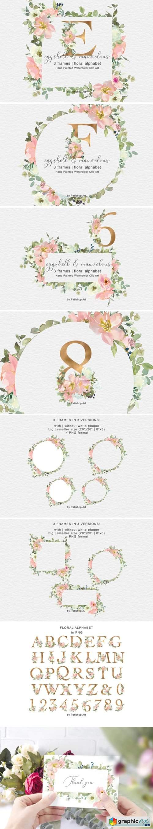 Watercolor Floral Frames and Alphabet