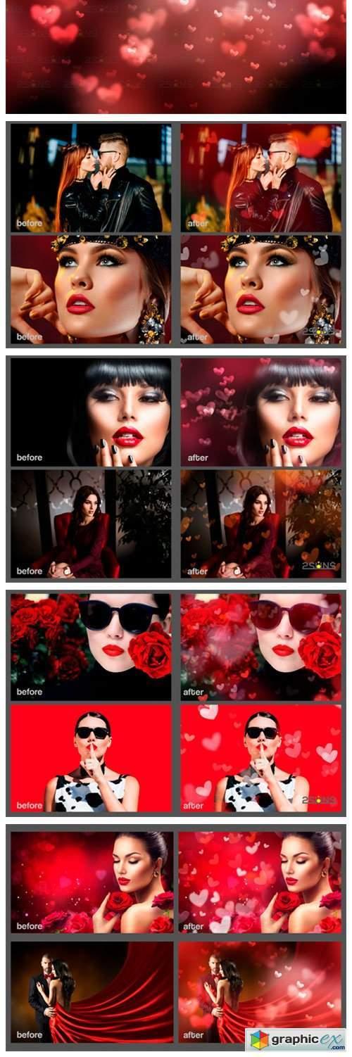 Photoshop Overlays Valentines Bokeh
