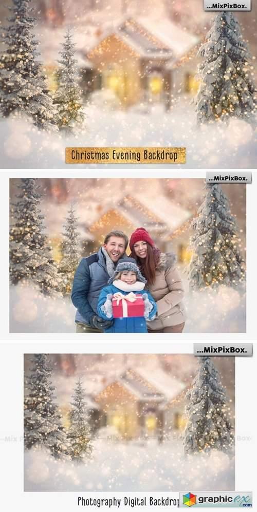 Christmas Evening Digital Backdrop