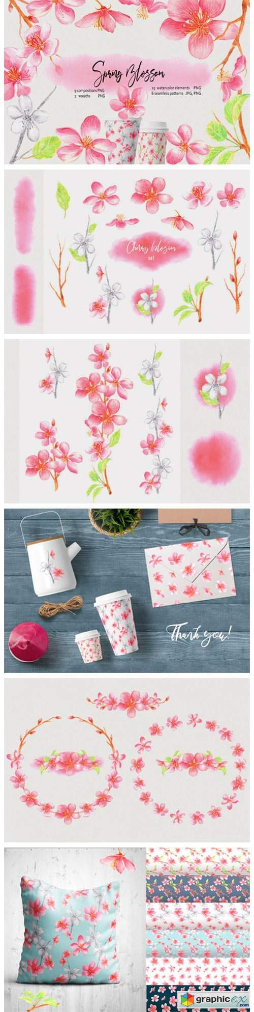 Watercolor Spring Blossom Clip Art