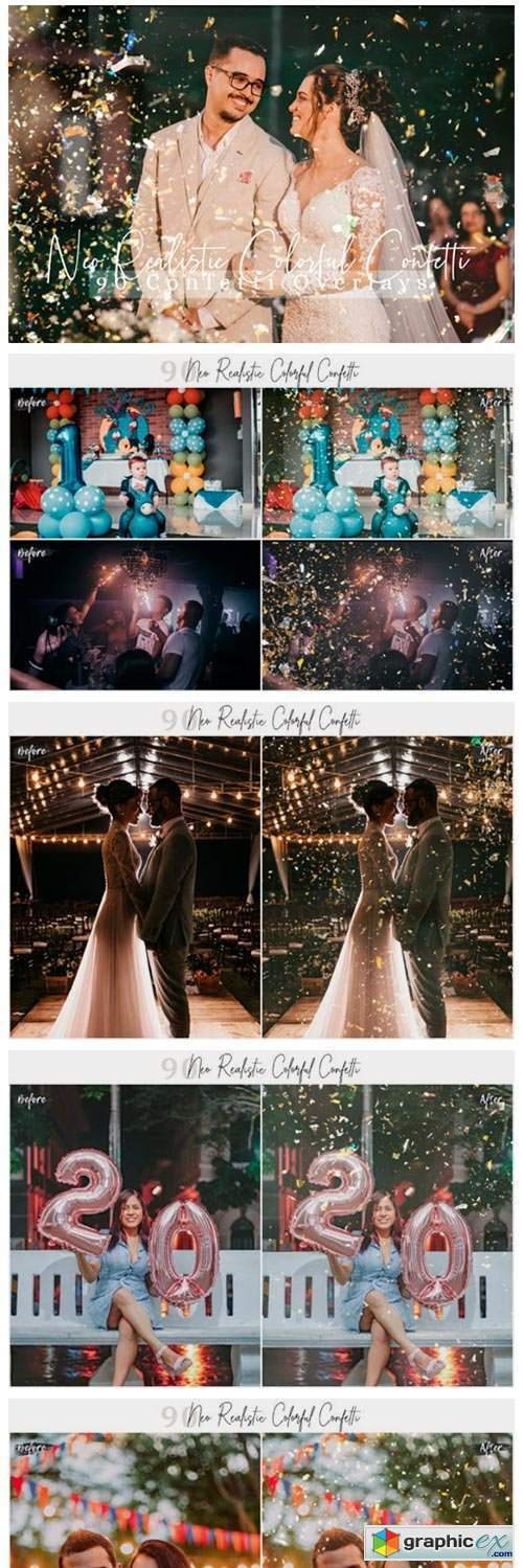 Realistic Colorful Confetti Pic Overlays