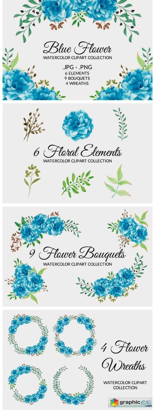 Blue Flower Watercolor Clipart Set
