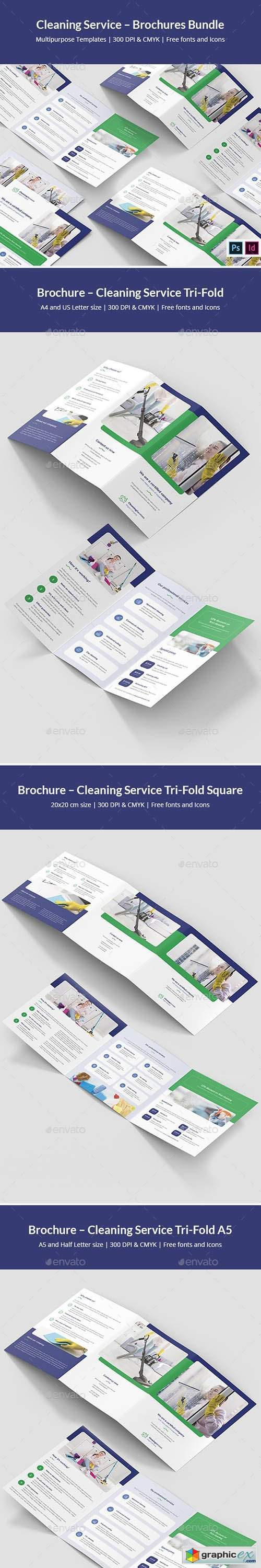 Cleaning Service – Brochures Bundle Print Templates 8 in 1