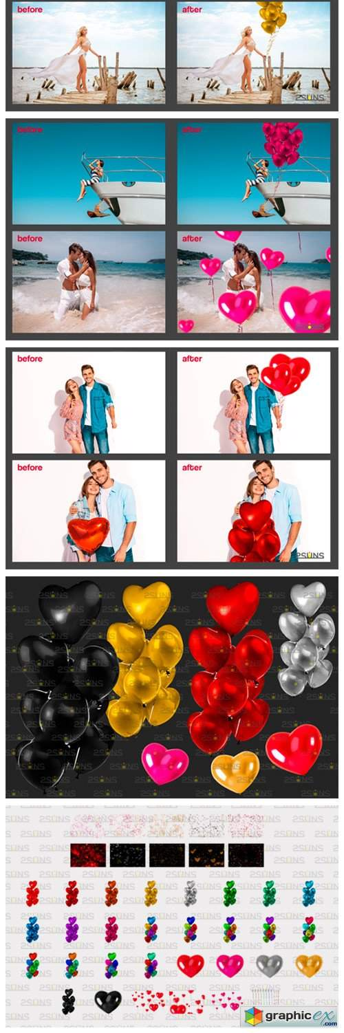 40 Heart Balloons Photo Overlays