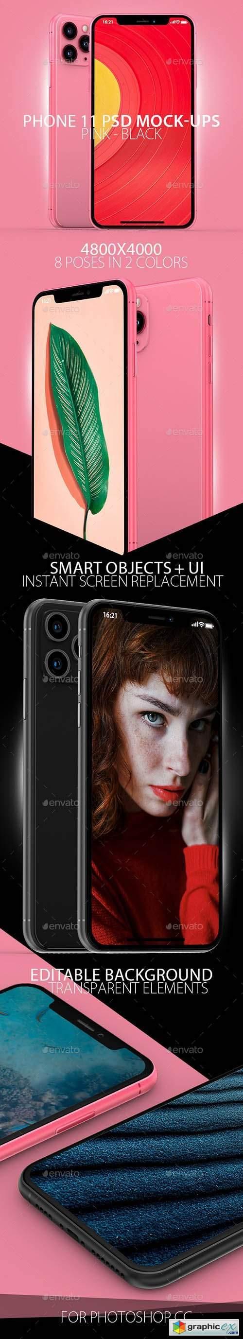 Black & Pink Phone 11 PSD Mock-ups
