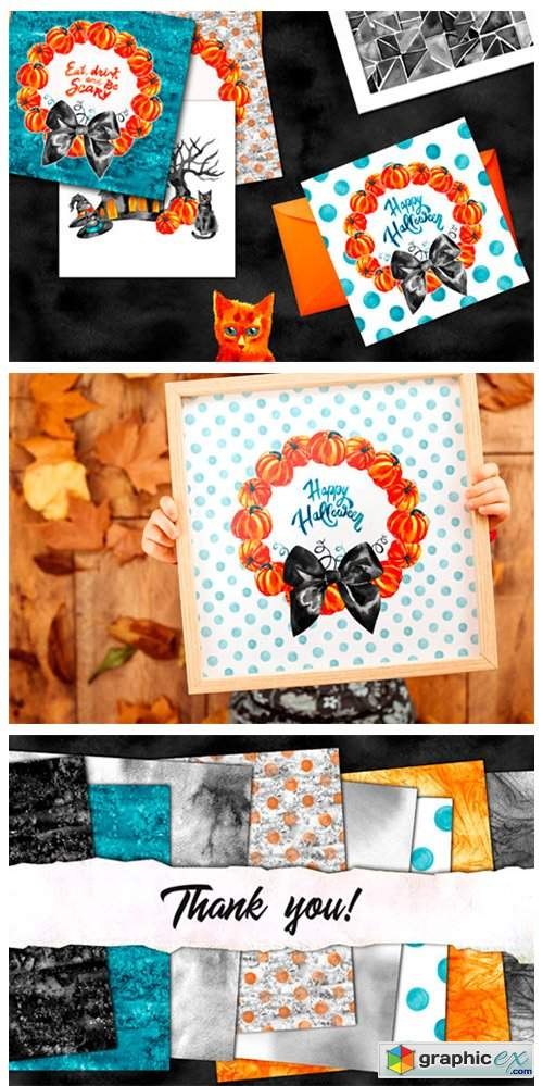 Watercolor Halloween Set 2894631