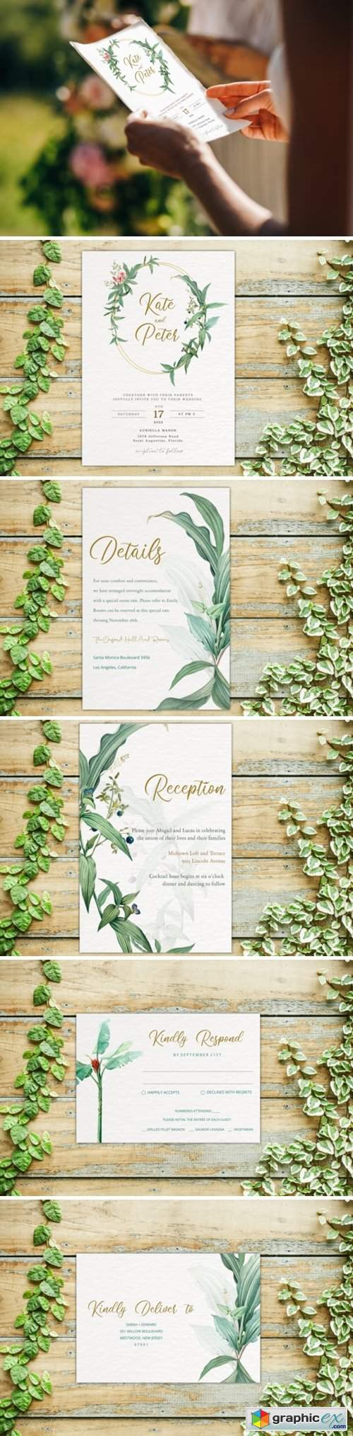 Greenery Wedding Invitation Template Set