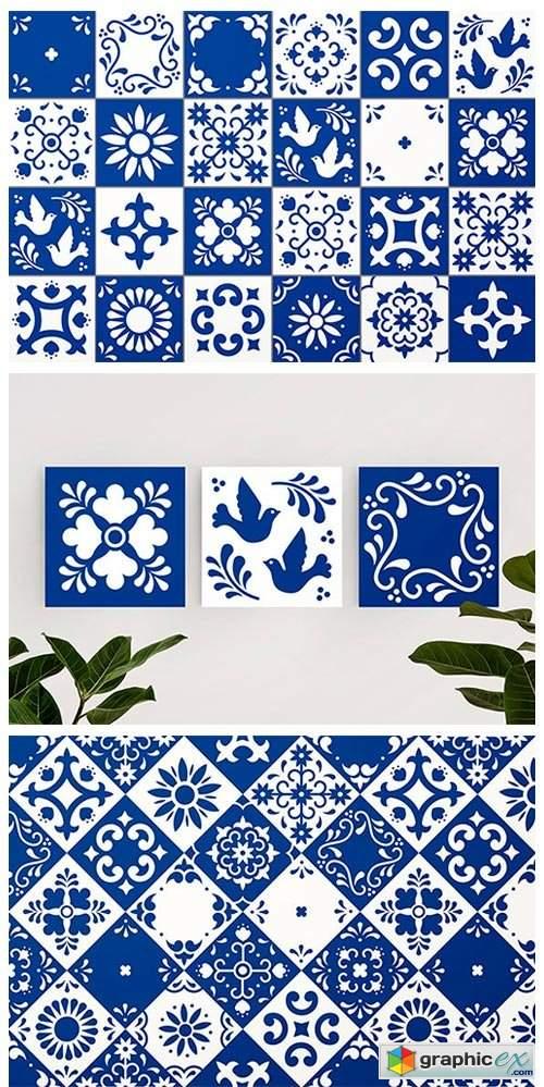 Mexican Talavera Tiles Patterns Set