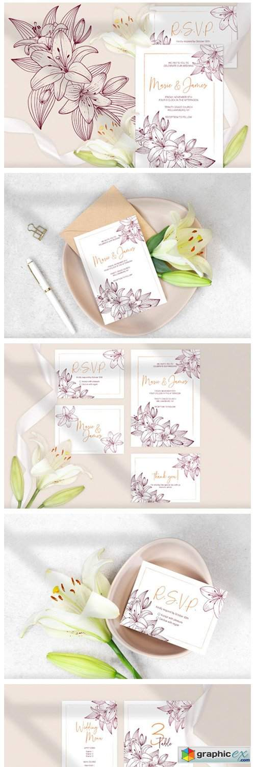 Lilies Wedding Invitation Template Cards