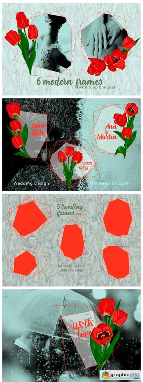 Red Tulips Vector Clipart