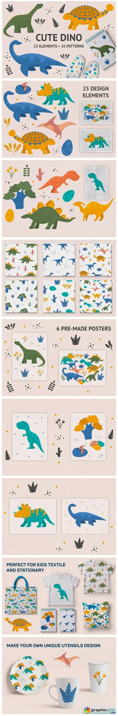 Cute Dino Illustrations