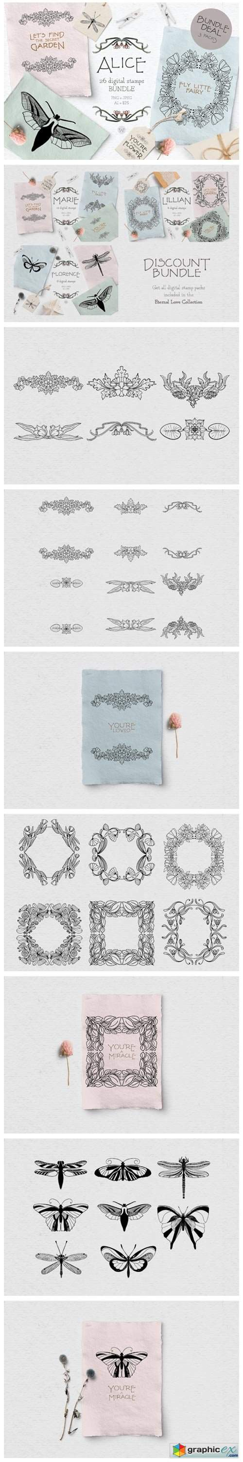 Vintage Floral Digital Stamp Bundle