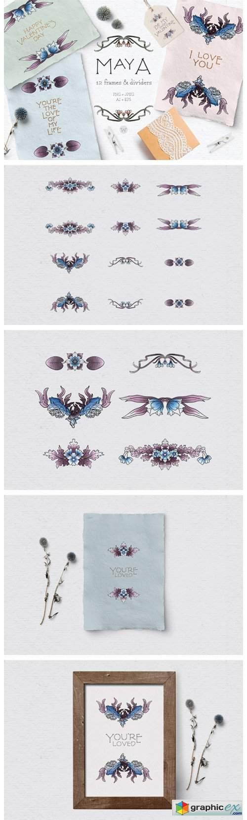 Blue Vintage Floral Dividers