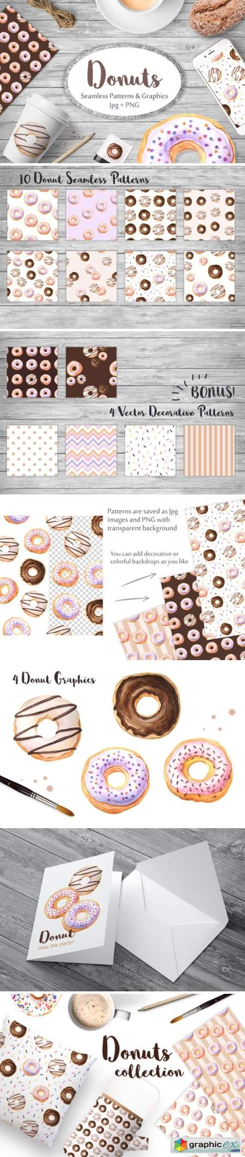 Watercolor Donuts Patterns&Graphics 2644937